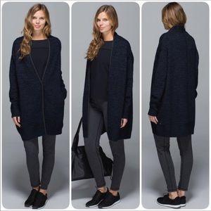 Lululemon Cardi All Day Wool Navy & Black Heathered Knit Sweater Thumbholes M-L